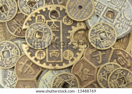Ancient Chinese Coins Different Types Full Background - stock photo