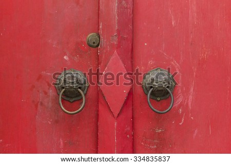 Ancient Chinese red door - stock photo