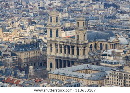 Ancient church Saint-Sulpice in Paris, France, view from top - stock photo