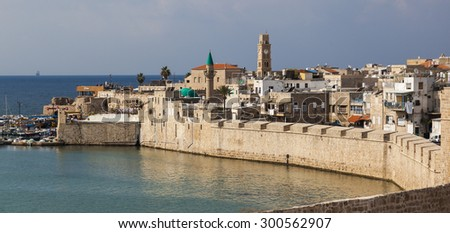 Ancient city of Akko in the morning. Israel - stock photo