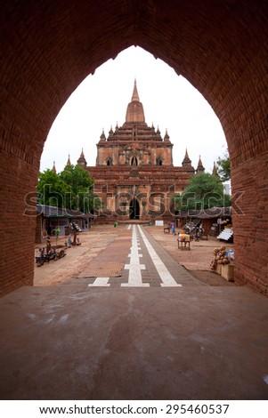 Ancient city of Bagan, view through the open door, Myanmar - stock photo