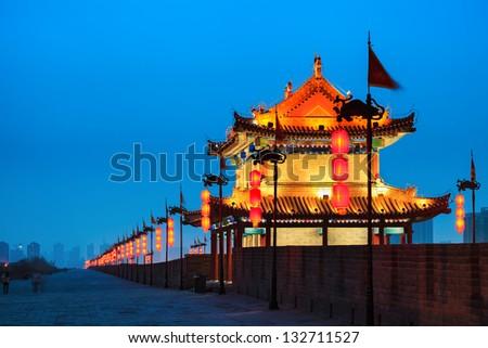 ancient city wall at night, Xi'an,China - stock photo