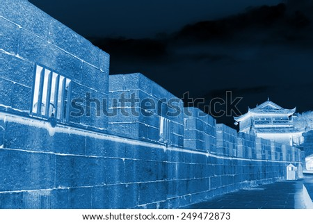 ancient city wall in the Phoenix Town, Hunan Province, south china - stock photo