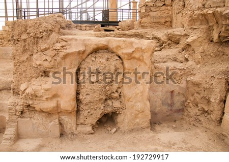 Ancient city Zeugma in Turkey located near Gaziantep and by the river Euphrates - stock photo