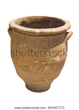 Ancient clay Minoan decorated amphora isolated over white - stock photo