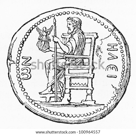 Ancient coin of Roman Emperor Hadrian, representing the statue of Zeus at Olympia - Picture from Meyers Lexicon books collection (written in German language) published in 1908, Germany. - stock photo
