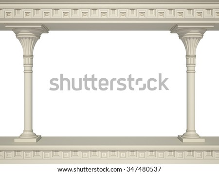 Ancient colonnade isolated on a white - stock photo