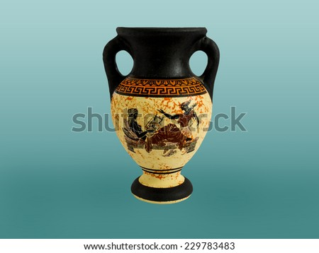 Ancient colored amphora with an ornament. Ceramic pottery for the vine and olive oil  - stock photo