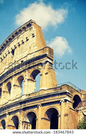 Ancient Colosseum in Rome, Italy - stock photo