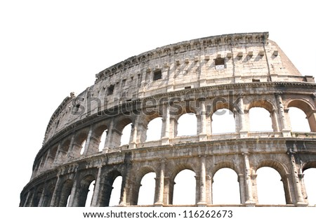Ancient Colosseum, Rome, Italy. Isolated over white - stock photo