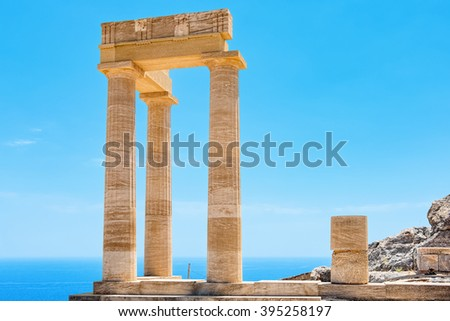Ancient column in Acropolis of Lindos. Rhodes, Dodecanese Islands, Greece, Europe - stock photo
