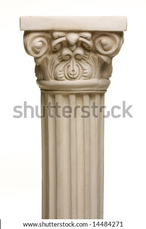 Ancient Column Pillar Replica on a White Gradation Background. - stock photo