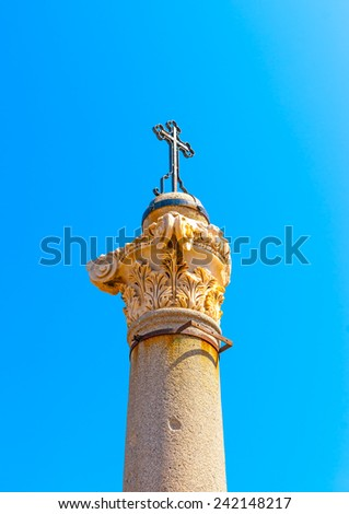 ancient column with an orthodox cross located at the center of Kos town at Kos island in Greece - stock photo