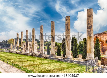 Ancient columns among the ruins of the Temple of Venus in Rome, Italy - stock photo