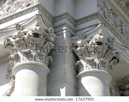 Ancient columns architectural design of engraving elements - stock photo