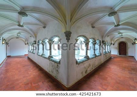 Ancient Corridor at Castle da Pena. Sintra. Portugal - stock photo
