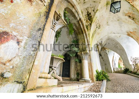 Ancient corridor in Palacio da Pena, Portugal - stock photo