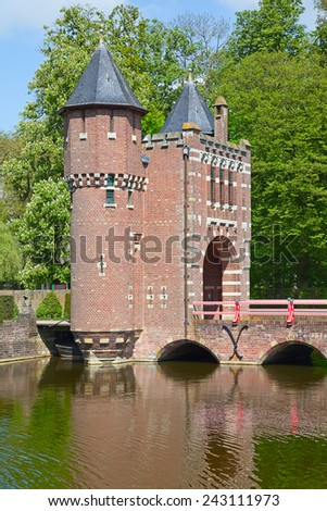 Ancient De Haar castle near Utrecht, Netherlands - stock photo