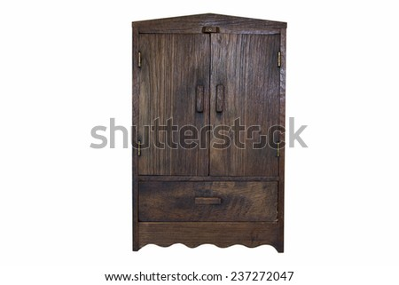 ancient design wood cupboard isolated on white background - stock photo