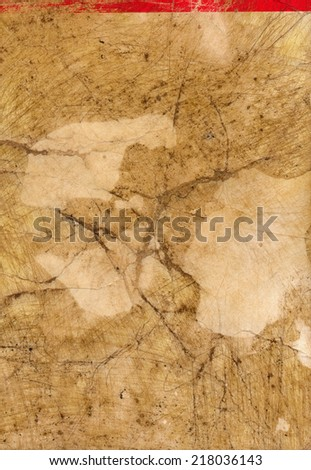 ancient dirty used paper page background with red line - stock photo