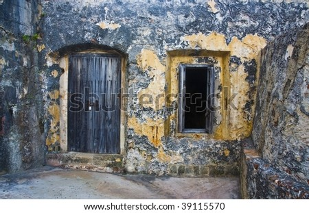 ancient door and window - stock photo