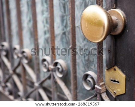 Ancient door gate with brass knob - stock photo