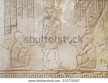 Ancient Egyptian Art Sunk relief Sculpture - stock photo