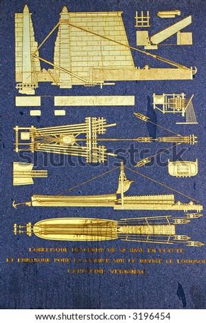 Ancient Egyptian obelisk of Luxor - details explaining installation of monument - stock photo