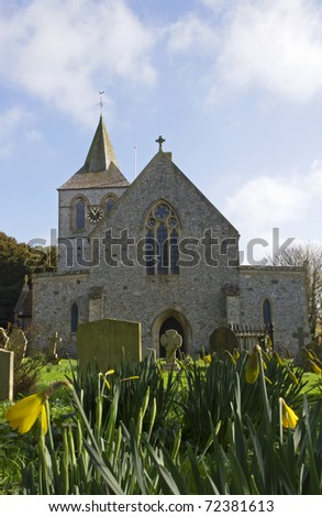 Ancient English church in Normans Bay Sussex, UK - stock photo