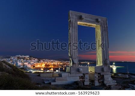 Ancient entrance to Apollo temple, Portara, Naxos island, Greece - stock photo