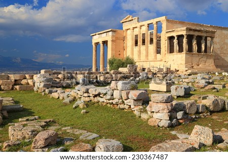 Ancient Erechtheion temple on the North side of Athens Acropolis, Greece - stock photo
