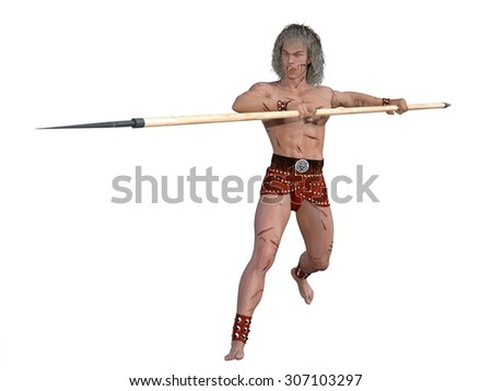 Ancient fantasy warrior with multiple wounds launces attack with spear - stock photo