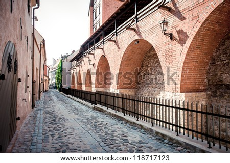Ancient fortification wall. Old Riga,Latvia - stock photo