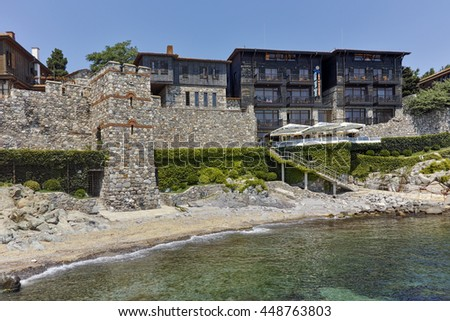 ancient fortifications and old town at embankment of Sozopol, Burgas Region, Bulgaria - stock photo