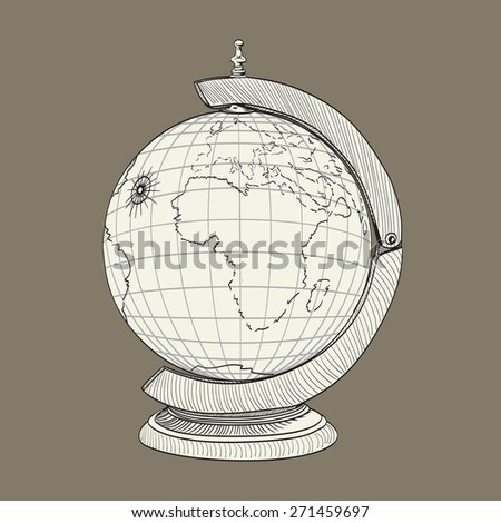ancient geographical globe illustration - stock photo