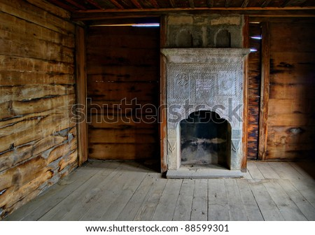 Ancient georgian fireplace in Open-air enthographical museum in the capital of Republic of Georgia - Tbilisi - stock photo