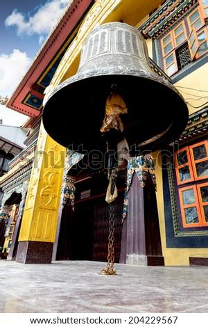 Ancient Giant Bell at Swayambhunath Temple in Kathmandu Nepal - stock photo