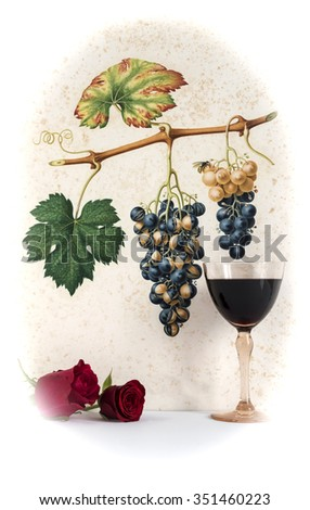 Ancient glass of   red wine background grape cluster decorated, romantic moment with flowers rose ,photo with vignetting, natural light, vertical photo - stock photo