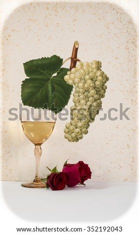 ancient glass of white wine background grape cluster decorated, romantic moment with flowers rose ,cutout photo,  natural light, vertical photo - stock photo