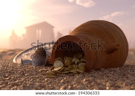 ancient gold coins treasure concept background with antique pitcher and chalice - stock photo