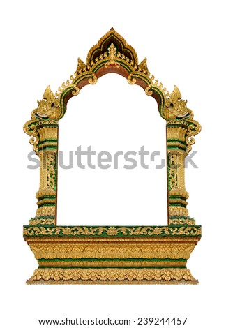 Ancient Golden Frame isolated - stock photo