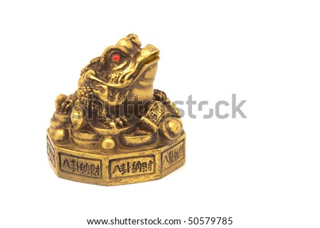 Ancient Golden frog with coins isolated on white - stock photo