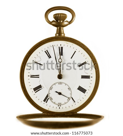 Ancient golden pocket watch on white background. - stock photo
