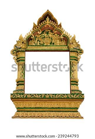 Ancient Golden wooden door of temple in laos - stock photo