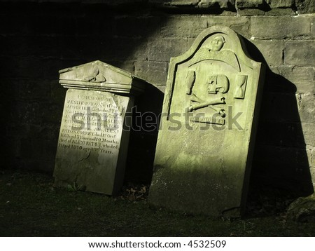 Ancient grave stones,  Dunkeld, Scotland - stock photo