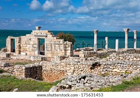 Ancient Greek Basilica at Chersonesus Taurica, Sevastopol, Crimea, Ukraine - stock photo