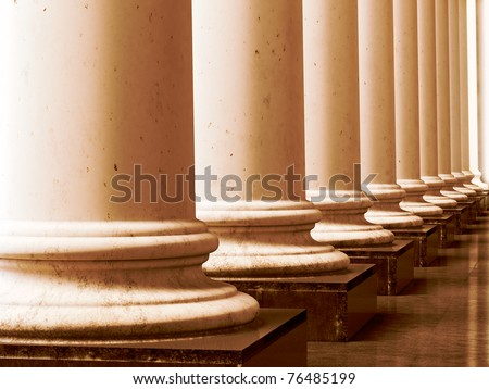 Ancient greek columns in aged sepia style. 3D illustration. - stock photo