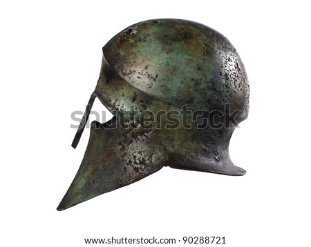 Ancient Greek Helmet from side - stock photo