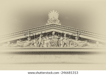 ancient Greek mythology gods and deities statues, instagram filtered - stock photo