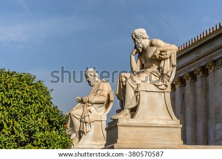 Ancient Greek Philosophers Plato and Socrates - stock photo